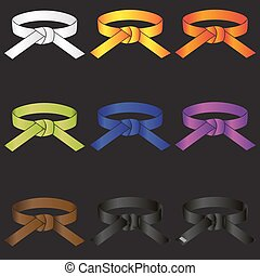 karate do martial arts color belts icons set eps10