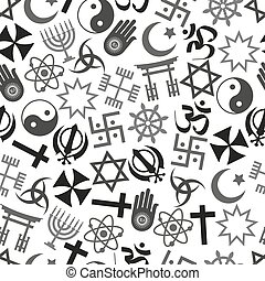 world religions symbols vector icons gray seamless pattern...