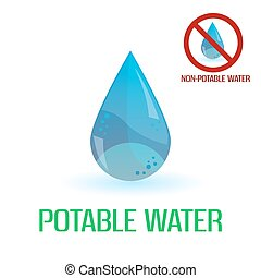 potable and non-potable water blue symbols eps10