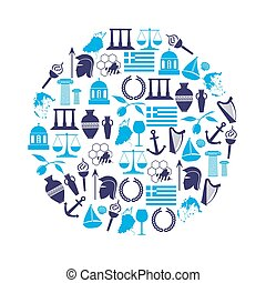 greece country theme symbols and icons in circle eps10