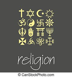 world religions symbols vector set of green icons  eps10