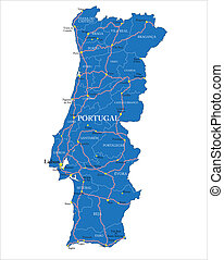 Portugal map - Highly detailed vector map of Portugal with...