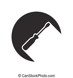 black icon with screwdriver and stylized shadow - black icon...