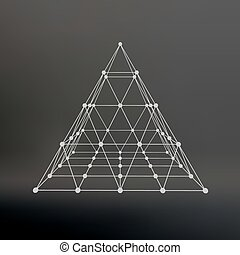 Wireframe mesh Polygonal pyramid Pyramid of the lines...