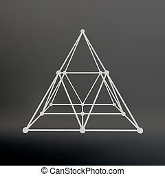 Wireframe mesh Polygonal pyramid. Pyramid of the lines...