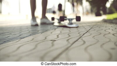 Longboard in Upside Down on a Concrete Ground - Skater Man...
