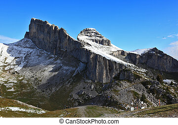 Mountain peaks near the resort of Leysin, on sunny day....