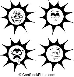 Summer sun mascots - Collection of four black and white,...