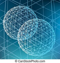 Abstract Mesh polygonal background. Scope of lines and dots....