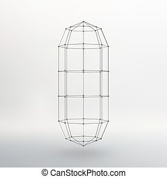 Wireframe mesh Polygonal capsule. The capsule of the lines connected dots. Atomic lattice. Driving constructive solution tank. Vector Illustration EPS10.