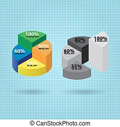 pie chart with four columns