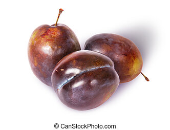 Three violet plums top view isolated on white background