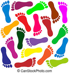 Colored traces of human feet