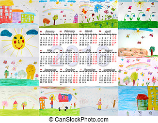 beautiful calendar for 2016 with children and 39;s drawings...