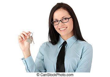 Real estate concept - Young businesswoman real estate agent...