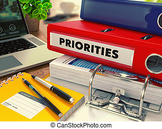Red Office Folder with Inscription Priorities. - Red Office...