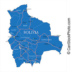 Bolivia map - Highly detailed vector map of Bolivia with...