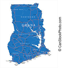 Ghana map - Highly detailed vector map of Ghana with...