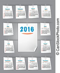 Calendar for 2016 on sticky notes attached with clip