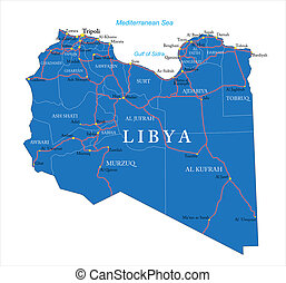 Libya map - Highly detailed vector map of Libya with...