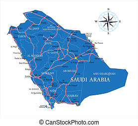 Saudi Arabia map - Highly detailed vector map of Saudi...