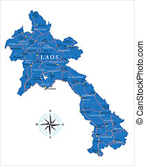 Laos map - Highly detailed vector map of Laos with...