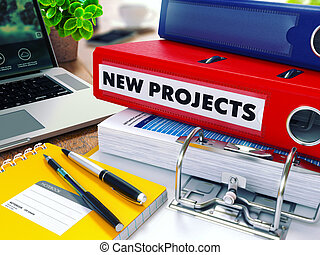 New Projects on Red Ring Binder Blurred, Toned Image - New...