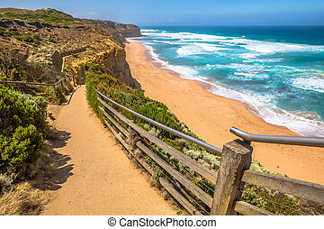 Port Campbell - Top view of Gibson Steps beach in Port...