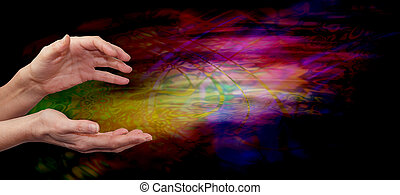 Psychic healing energy field - Female outstretched healing...