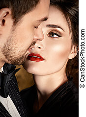 sensuality - Close-up portrait of a beautiful man and woman...