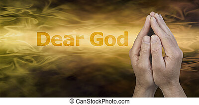 Dear God Website Banner - Male hands in prayer position on a...