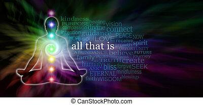 Chakra, meditación, palabra, nube,