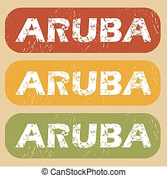 Vintage Aruba stamp set - Set of rubber stamps with country...