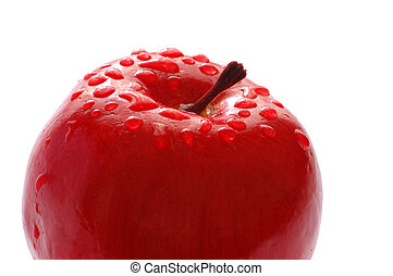 Red apple with water drops isolated on white