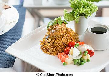 Chicken biryani with vegetables