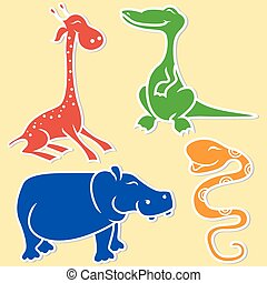 Giraffe, crocodile, hippo and boa on light yellow...
