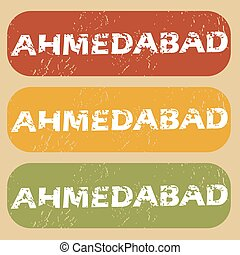 Vintage Ahmedabad stamp set - Set of rubber stamps with city...