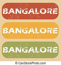 Vintage Bangalore stamp set - Set of rubber stamps with city...