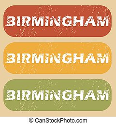 Vintage Birmingham stamp set - Set of rubber stamps with...