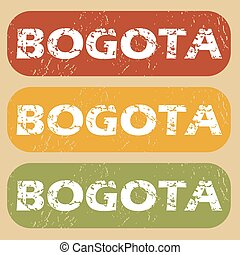 Vintage Bogota stamp set - Set of rubber stamps with city...