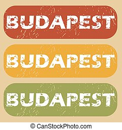 Vintage Budapest stamp set - Set of rubber stamps with city...
