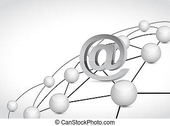 en línea, enlace, conexión, red,...