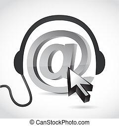 en línea, Música, concepto, señal,...