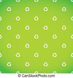 white recycle symbol pattern green background