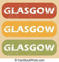 Vintage Glasgow stamp set - Set of rubber stamps with city...