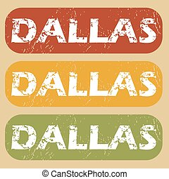 Vintage Dallas stamp set - Set of rubber stamps with city...