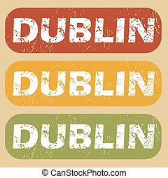 Vintage Dublin stamp set - Set of rubber stamps with city...
