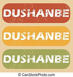 Vintage Dushanbe stamp set - Set of rubber stamps with city...