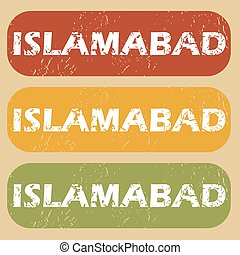 Vintage Islamabad stamp set - Set of rubber stamps with city...