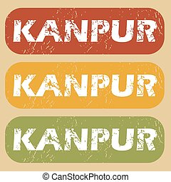 Vintage Kanpur stamp set - Set of rubber stamps with city...